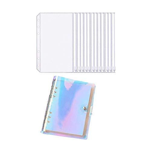 10 Pcs A6 Zipper Pouch with Binder Cover,Refillable,Envelope Pouch Standard 6 Holes Binder Pouches Waterproof,Snap Button Closure Loose Leaf for Documents Notebooks Cards (Magic Color)
