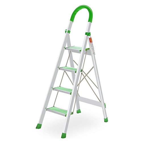 LRZLZY 4-Stufenleiter, Folding Heavy Duty Aluminium Trittschemel, Küche Schritt mit Anti-Rutsch-Stufen, Haushaltsstehleitern, 150kg Max Kapazität