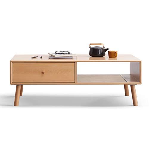 Jiji Tavolino da salotto in legno massello di faggio minimalista nordico con cassetti anteriori e posteriori, tavolino da tè per soggiorno, divano e tavolino (dimensioni: 120 x 56 x 42 cm)