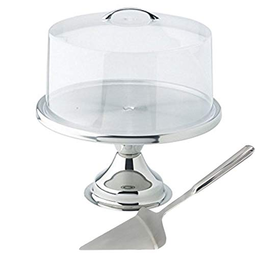 Tiger Chef 13' Stainless Steel Cake Stand Set With Acrylic Cover And Pie Spatula