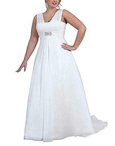 YASIOU Hochzeitskleid Damen Elegant Lang Weiß Schlicht A Linie Chiffon Glitzer Große Größen Brautkleid Standesamt mit Schleppe
