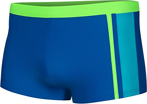Aqua Speed Max Jungen Badehose | Schwimmhose | 110-152 cm | Modern UV-Schutz | Chlor resistent | Kordelzug 28. Blau/H.Grün/Turquoise - Max Gr. 128
