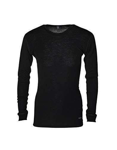 Dilling Merino Langarmshirt für Herren - 100% Natürliche Bio-Merinowäsche Schwarz L