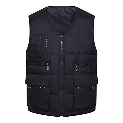 Invierno de los hombres de algodón caliente chaleco chaleco de los hombres sin mangas chaqueta y bolsillo chaleco casual suelta hombres