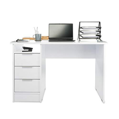 COSTWAY Computertisch mit 3 Schubladen, Schreibtisch Holz, PC-Tisch Bürotisch weiß, Computerschreibtisch Laptoptisch Arbeitstisch für Zuhause& Büro