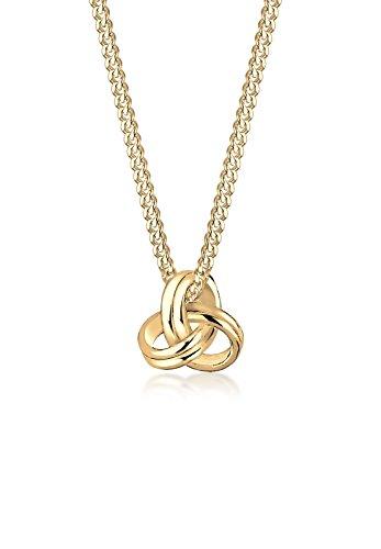 Elli PREMIUM Halskette Damen mit Knoten Symbol Trend in 585 Gelbgold