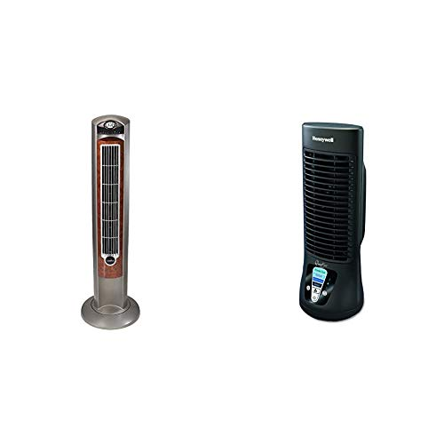 "Lasko Portable Electric 42"" Oscillating Tower Fan with Nighttime Setting, Timer and Remote Control for Indoor, Silverwood T42954 & Honeywell HTF210B Quiet Set Personal Table Fan"