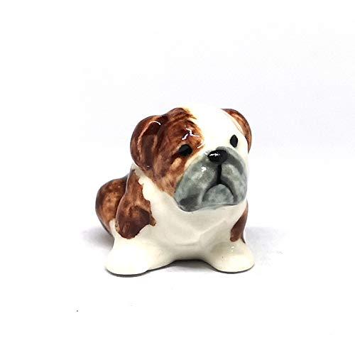 ZOOCRAFT Mini Bulldog Figurine Ceramic Hand Painted Miniature Gift Collectible Animals
