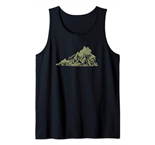 Virginia Mountain Bike Riding VA Biking Blue Ridge State Map Tank Top