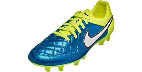 Nike Womens Tiempo Legend V FG Soccer Cleat (Blue Lagoon, Volt) Sz. 6.5
