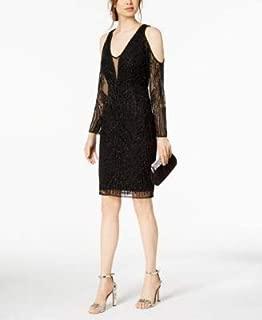 ADRIANNA PAPELL Womens Black Beaded Cold Shoulder Long Sleeve V Neck Knee Length Sheath Cocktail Dress Petites US Size: 2