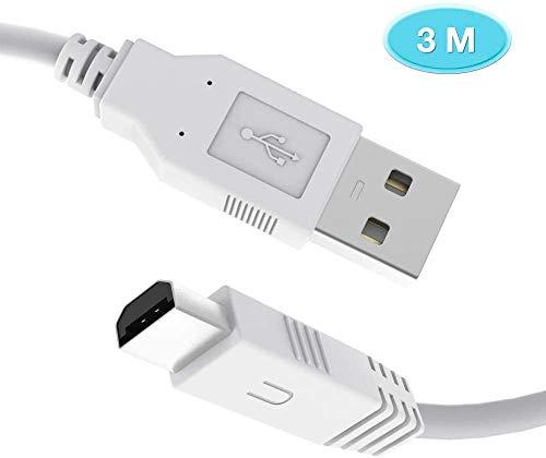 6amLifestyle Wii U Ladekabel, 3M Extra Langes USB-Ladekabel Datenkabel für Nintendo Wii U Gamepad Controller,Weiß