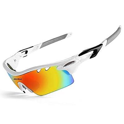 JOGVELO Sport Sunglasses Polarized for Men UV400 Protection con 5 Interchangeable Lens for Cycling Running Baseball Golf, White-1