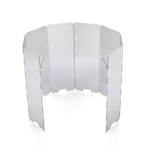 WHK Pantalla de Viento para Cocina de Camping al Aire Libre, Protector de Estufa de Camping de Parabrisas de Estufa de Gas de Aluminio Plegable de 8 Placas