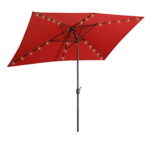 Aok Garden 10 Ft LED Lighted Patio Outdoor Umbrella Solar Power Market Table Fade-Resistant Umbrella with Push Button Tilt & Crank and 6 Sturdy Ribs,Red