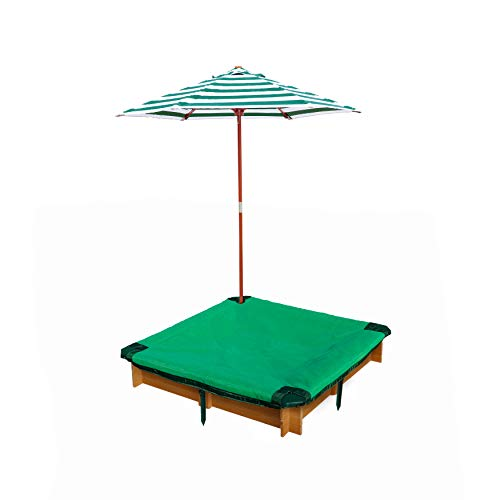 Gorilla Playsets 02-3019 Interlocking Sandbox with Cover and Umbrella, Wood, Square, 45.5' W x 45.5' D x 8' H, Brown