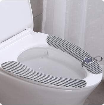 2 Pairs Soft Bathroom Toilet Seat Cushion Self-Adhesive Warmer Washable Health Toilet Seat Cover Pad