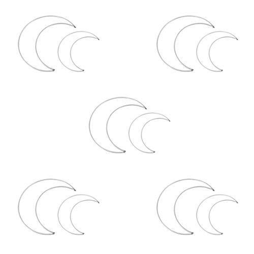 EXCEART 10 Piezas Anillos de Atrapasueños en Forma de Luna Aros Anillos de Metal Aros Anillos de Macramé para Diy Craft Atrapasueños Haciendo Decoración de Guirnalda de Boda Tamaño S L