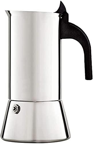 MXCHEN - Olla para moca, olla para café, olla para el hogar, cafetera espresso de acero inoxidable, cafetera para moca (color: plateado, tamaño: 6 tazas)