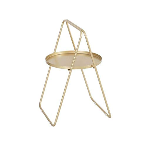End Tables Side Table A-shaped Wrought Iron Small Round Coffee Table, Nordic Simple Bedroom Living Room Outdoor Sofa Table Reading Table (Color : Golden)
