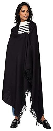 Lzpzz - Coperta da viaggio in lana merino, taglia oversize, 100% pura lana, idea regalo kasa intrecciata a mano (colore: Nero)
