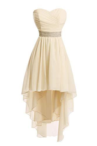 JAEDEN Ballkleider Damen Brautjungfernkleid Hochzeit Partykleid Herzausschnitt Abendkleid Vorne Kurz Hinten Lang Champagner EUR46