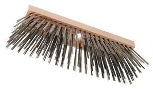 Haromac 2709300 Brosse métallique pour balai En bois avec 6 rangées de fil métallique Longueur de brosse 300 mm Trou pour le manche Ø 23-24 mm Manche non inclus
