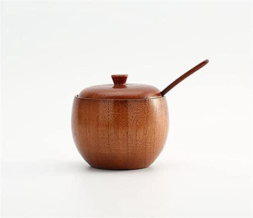 1 ST Krydda burk kryddor kan sockerskål med lock sked trä krydd box kök verktyg saltförvaring box kök socker kruka