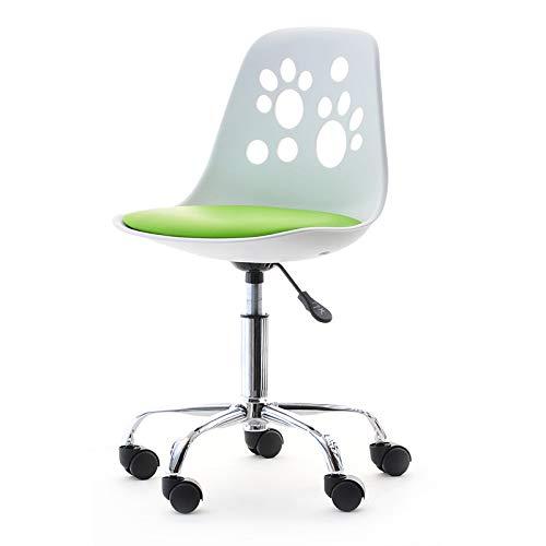 Foot – Jugend- und Kinderstuhl Schreibtischstuhl Drehstuhl mit Rollen Höhenverstellbar (Weiß / Limettengrün)