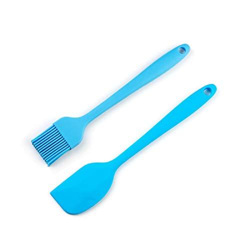 WUCHENG Silicone Basting Hornear Hornear Pan BBQ Oil Silicona Espátula Pastelería Pincel Herramienta Silicona Cepillo de Cocina espátula (Color : 2pcs Set Blue)