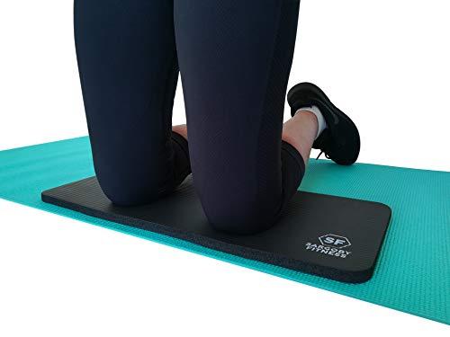 Sargoby Fitness Yoga Ginocchiera Cuscino 15 mm Ginocchiera per Pilates per fornire sollievo a ginocchia, gomiti, avambracci e polsi, ginocchiera da allenamento piccolo tappetino da yoga (nero)