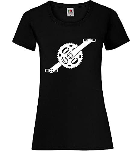 Shirt84.de - Camiseta de manga corta para mujer con pedales Negro XS