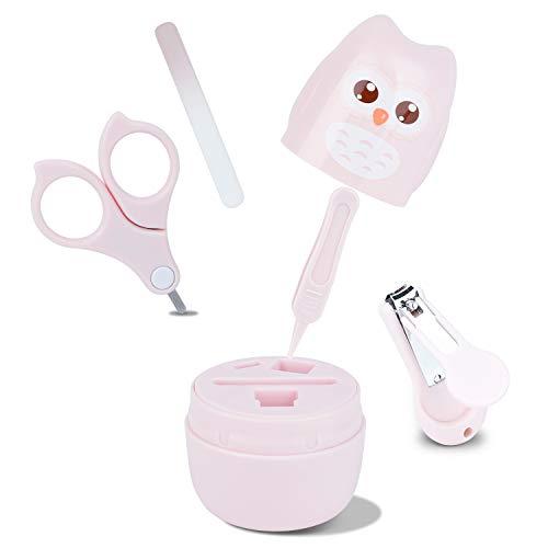 Babypflege Set mit Baby Nagelschere, für Fingernägel und Fußnägel mit Nagelknipser, Nagelschere, Nagelfeile und Pinzette für Kinder und Neugeborene in süßer Eule Geschenk-Verpackung