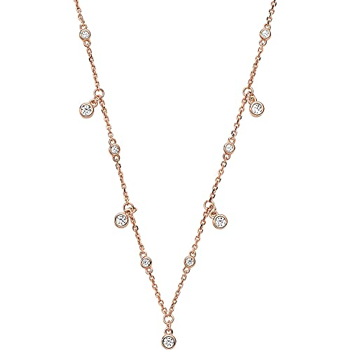 Emporio Armani EG3500221 Collar para mujer Sentimental de plata 925 con circonita rosa, 42 cm