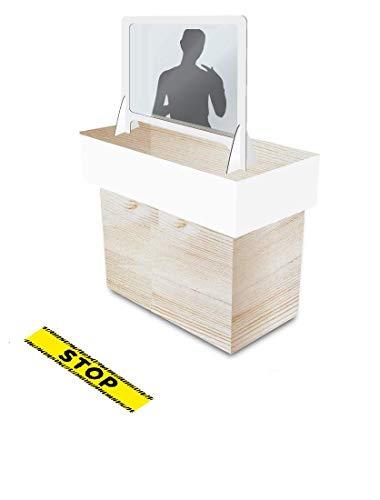 KMINA - Mampara Protección Mostrador, Mampara Mostrador con pantalla de plástico fino transparente (no es metacrilato) y marco de aluminio DIBOND de Calidad, Fabricado en España (70 cm x 62cm)