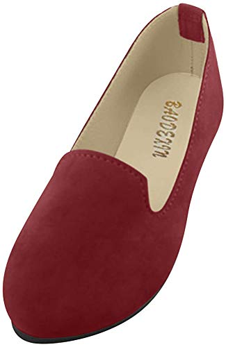 Frauen Damen Slip On Flache Schuhe Sandalen Casual Ballerina Schuhe Schwangere Frau Schuhe,WeinRot,EU 38