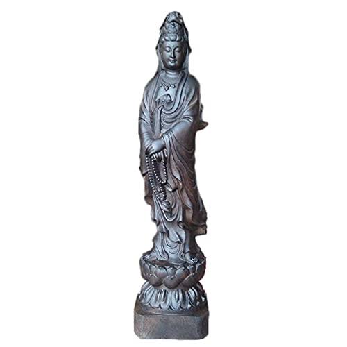 ADISVOT Estatua De Guan Yin, Estatua De Madre Quan Yin, Estatua De Buda, Muebles para El Hogar, Talla De Madera, Regalos De Feng Shui Chino De 11 Pulgadas