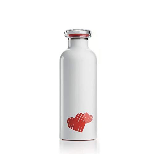 Guzzini . Bottiglia Termica Viaggio 500ml Acciaio Inox Borraccia Love Bianco Cuore Bomboniera