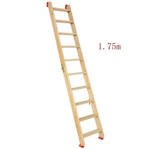 NYDZDM Ladder Houten Vouwladder, Dubbele Zij-Zolder Trap, Multi-functie Huishoudelijke Rechte Ladder Draagbare Outdoor Klimmen Ladder