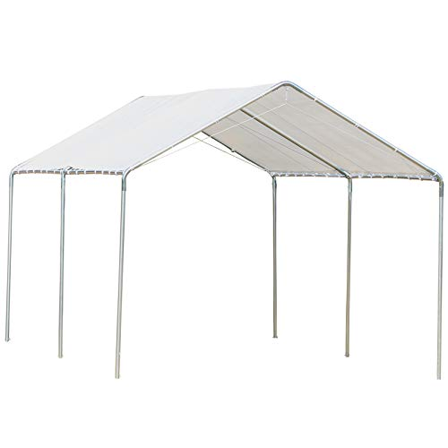 Outsunny 10' x 20' Heavy Duty Carport Awning Canopy with Included Anchor Kit & Weather-Resistant PE Roof, White