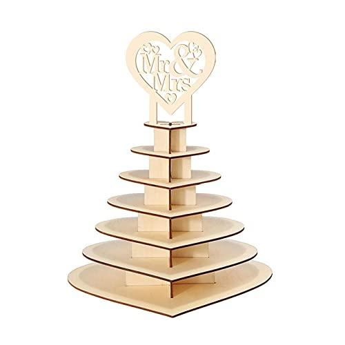 JINGLING Espositore per cioccolatini a 7 livelli in legno di cioccolato, decorazione per matrimonio, a forma di cuore, per caramelle, caramelle, caramelle