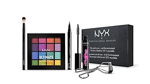 NYX Professional Makeup Full Eye Look Makeup Set, 5-teilig, Ultimate Eye Shadow Palette Brights, Lidschattenpinsel, Epic Ink Eyeliner, Wimpernzange, Worth the Hype Mascara