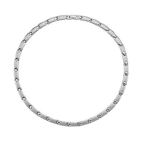Magnetic Balance Magnetschmuck Collier Kette Halskette Edelstahl Vergoldet Matt und Glanz 2400 Gauß Klappverschluss 7 mm Breite 46cm Länge