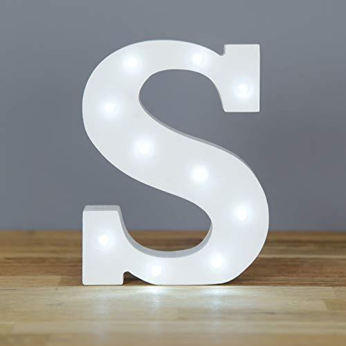 Up in Lights dekorative LED weiße hölzerne Buchstaben Zeichen - Wandbehang batteriebetrieben - Brief S