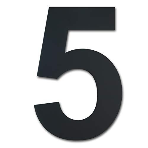 Número de casa moderno cepillado, 205 mm de altura, hecho de acero inoxidable 304 sólido, chapado en negro (Número 5 Cinco)
