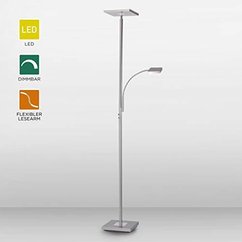 LeuchtenDirekt LED Stehlampe dimmbar | Deckenfluter mit Leselampe, Edelstahl | Moderne Stehleuchte, Lesearm verstellbar |warmweißes Licht für Wohnzimmer, Büro und Schlaftimmer