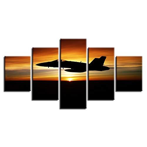 HD-prints moderne decoratie Home Room 5 stuks vliegtuig zonsondergang landschap schilderij muurkunst poster modulaire canvas foto's (geen lijst) 40x60 40x80 40x100cm