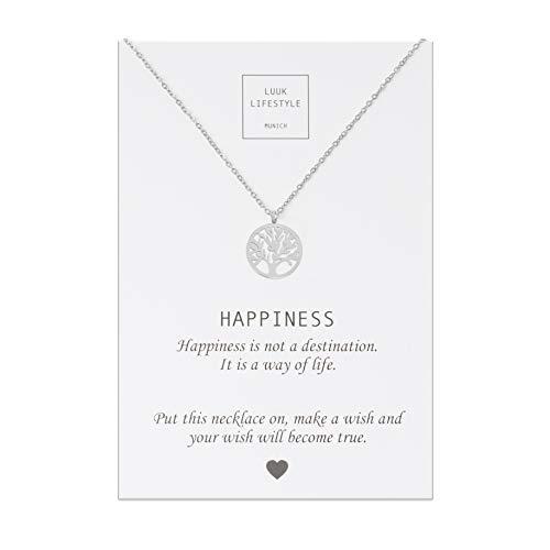 LUUK LIFESTYLE Collier en acier inoxydable avec pendentif arbre de vie et carte message Happiness, porte-bonheur, Bijou femmes, carte cadeau, argent