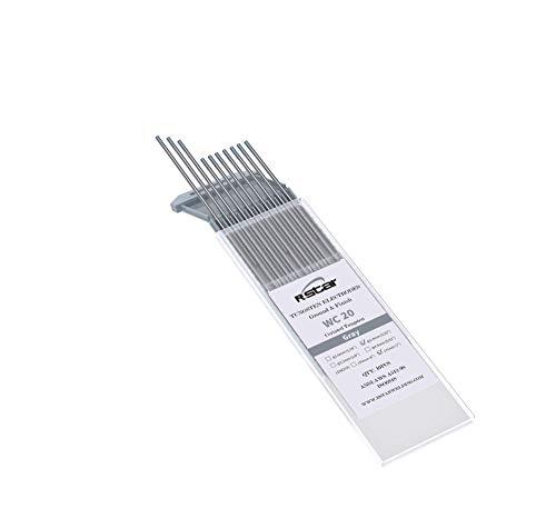 WC20 TIG Soldadura Electrodos de Tungsteno Contienen 2% Ceriado (Punta Gris)electrodos de tungsteno Ø2,4X175mm 10 electrodos -no-radioactivos