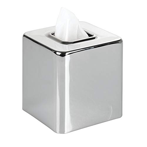 mDesign Modern Square Metal Paper Facial Tissue Box Cover Holder for Bathroom Vanity Countertops, Bedroom Dressers, Night Stands, Desks and Tables - Chrome
